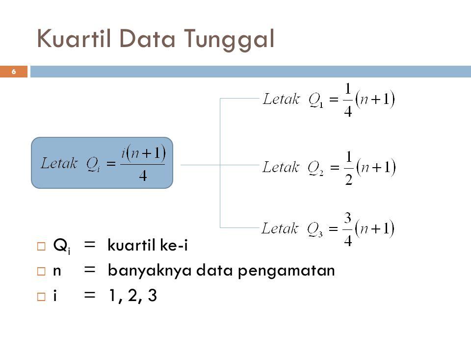 Kuartil Data Tunggal Qi = kuartil ke-i n = banyaknya data pengamatan