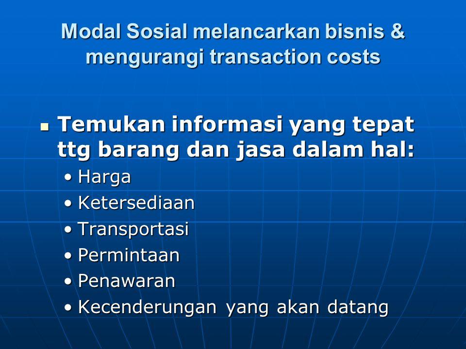 Modal Sosial melancarkan bisnis & mengurangi transaction costs