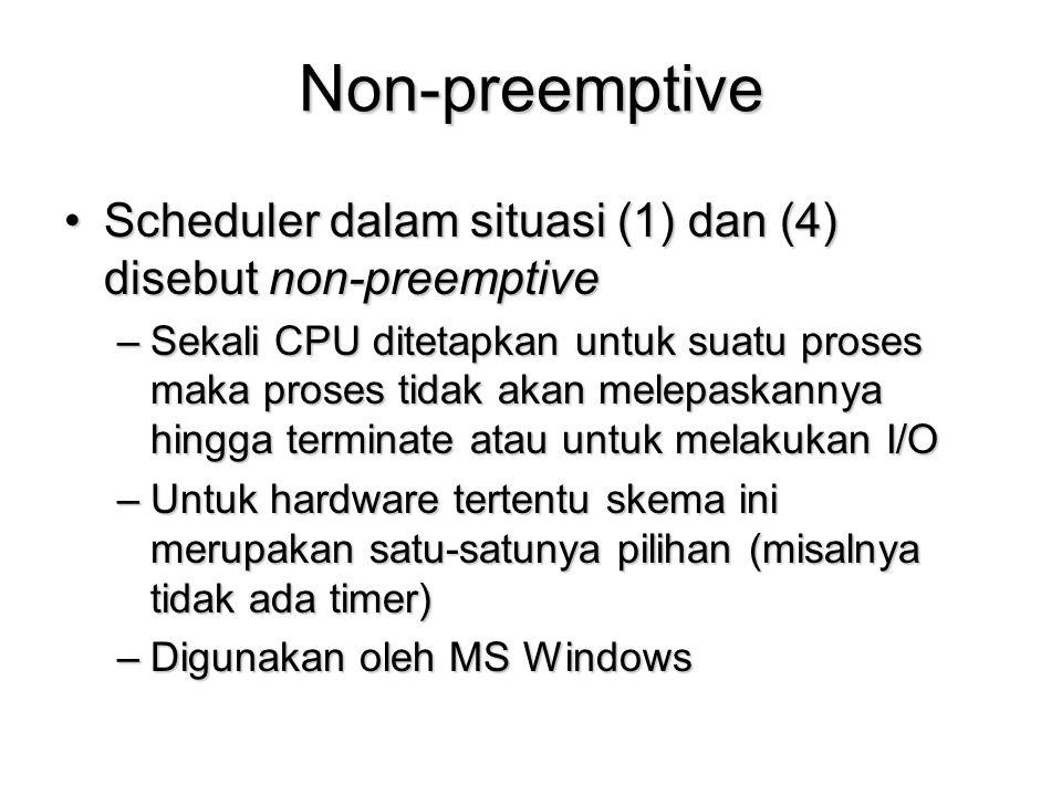 Non-preemptive Scheduler dalam situasi (1) dan (4) disebut non-preemptive.
