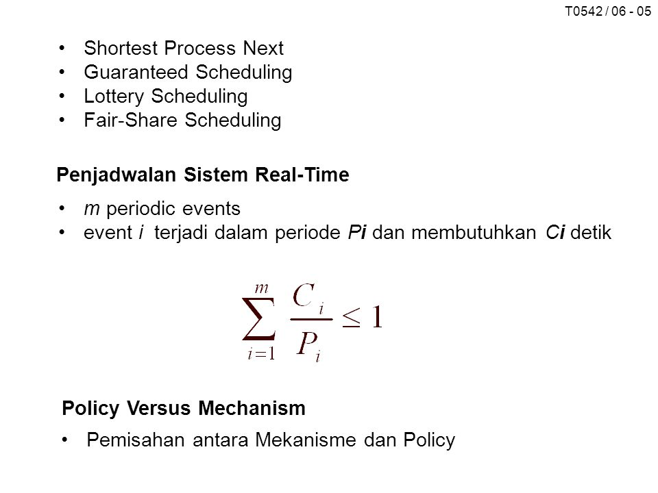 Shortest Process Next Guaranteed Scheduling. Lottery Scheduling. Fair-Share Scheduling. Penjadwalan Sistem Real-Time.