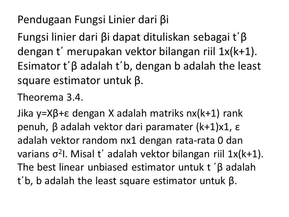 Pendugaan Fungsi Linier dari βi