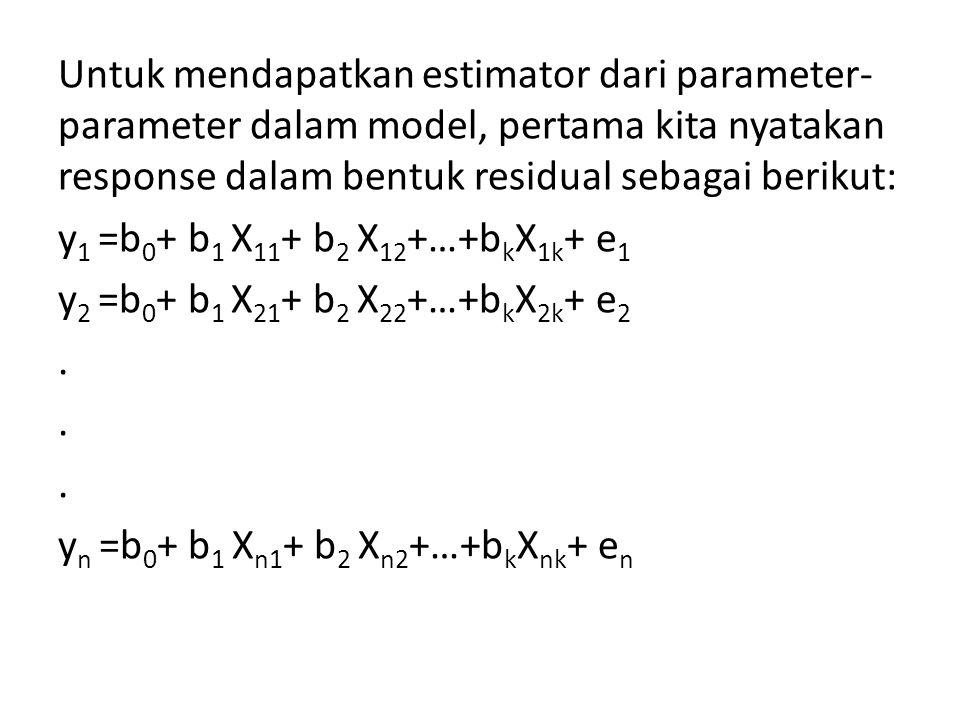 Untuk mendapatkan estimator dari parameter-parameter dalam model, pertama kita nyatakan response dalam bentuk residual sebagai berikut: y1 =b0+ b1 X11+ b2 X12+…+bkX1k+ e1 y2 =b0+ b1 X21+ b2 X22+…+bkX2k+ e2 .