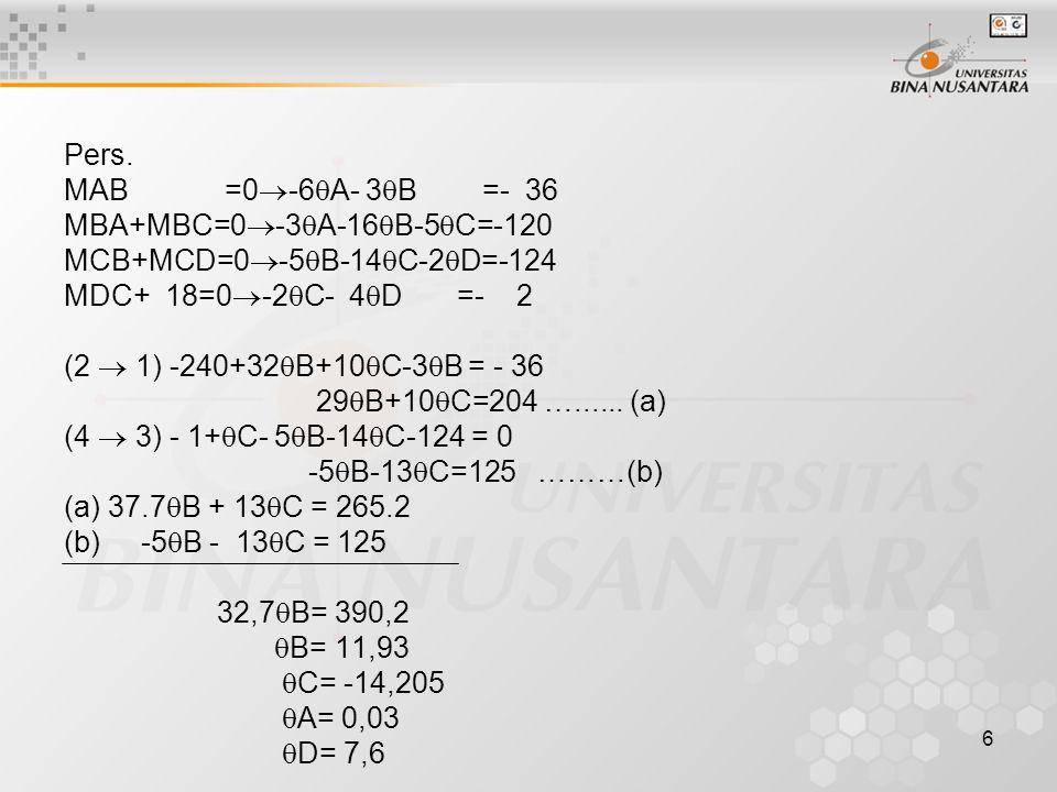Pers. MAB =0-6A- 3B =- 36. MBA+MBC=0-3A-16B-5C=-120. MCB+MCD=0-5B-14C-2D=-124.