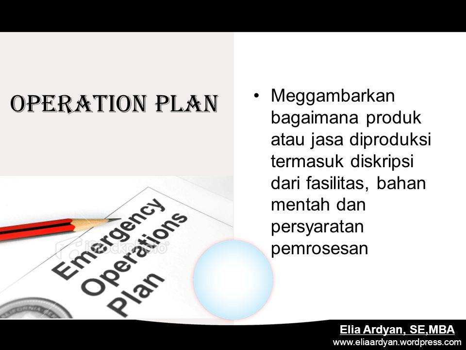 OPERATION PLAN Meggambarkan bagaimana produk atau jasa diproduksi termasuk diskripsi dari fasilitas, bahan mentah dan persyaratan pemrosesan.