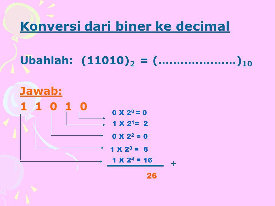 Konversi dari biner ke decimal