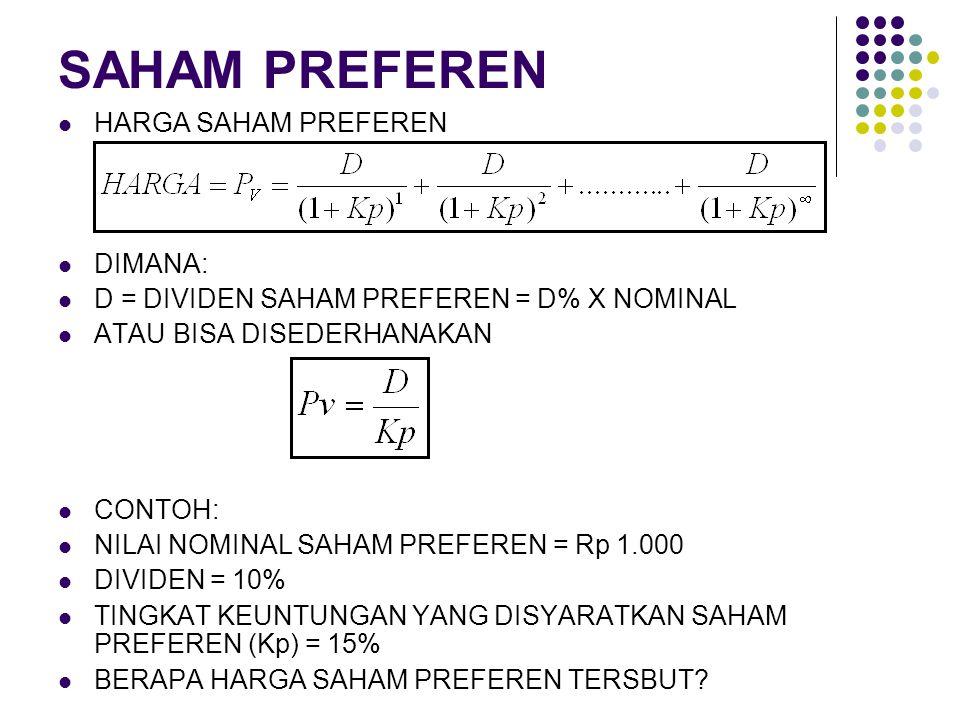 SAHAM PREFEREN HARGA SAHAM PREFEREN DIMANA: