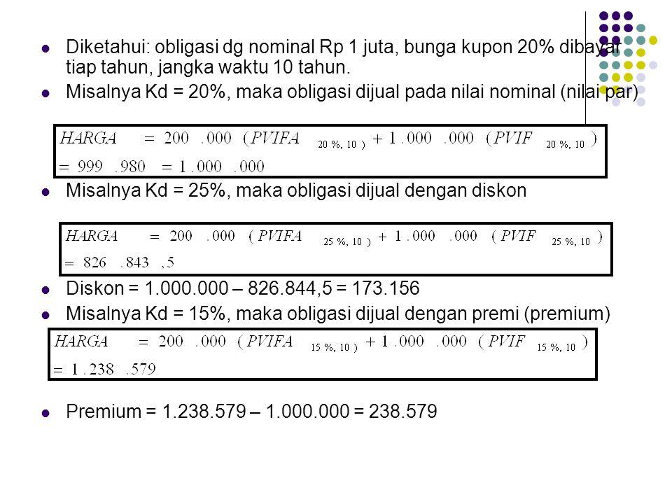 Diketahui: obligasi dg nominal Rp 1 juta, bunga kupon 20% dibayar tiap tahun, jangka waktu 10 tahun.