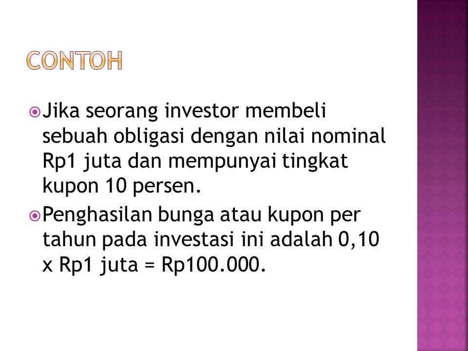 CONTOH Jika seorang investor membeli sebuah obligasi dengan nilai nominal Rp1 juta dan mempunyai tingkat kupon 10 persen.