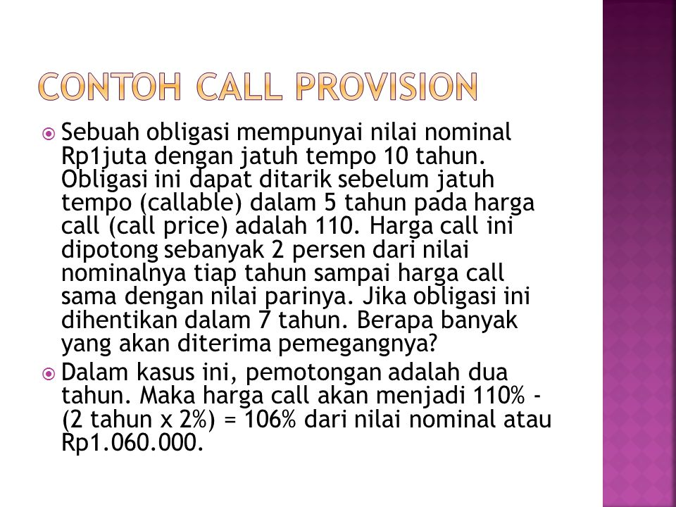 CONTOH CALL PROVISION