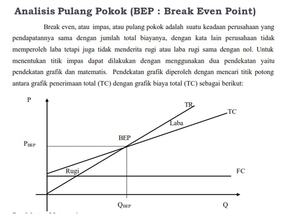 Analisis Pulang Pokok (BEP : Break Even Point)