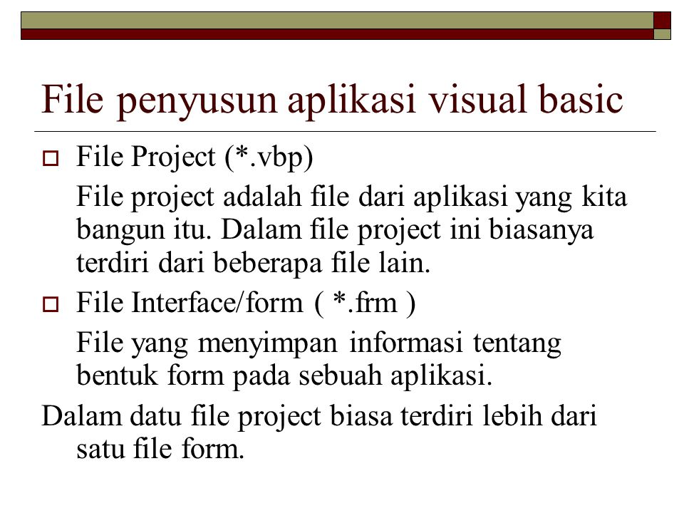 File penyusun aplikasi visual basic