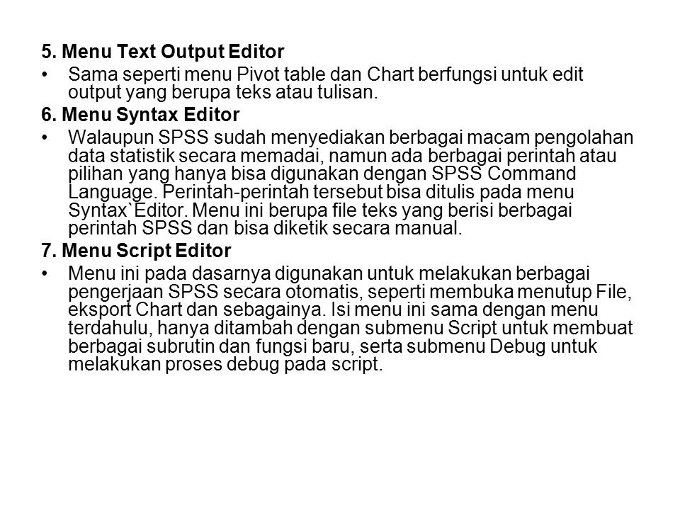 5. Menu Text Output Editor