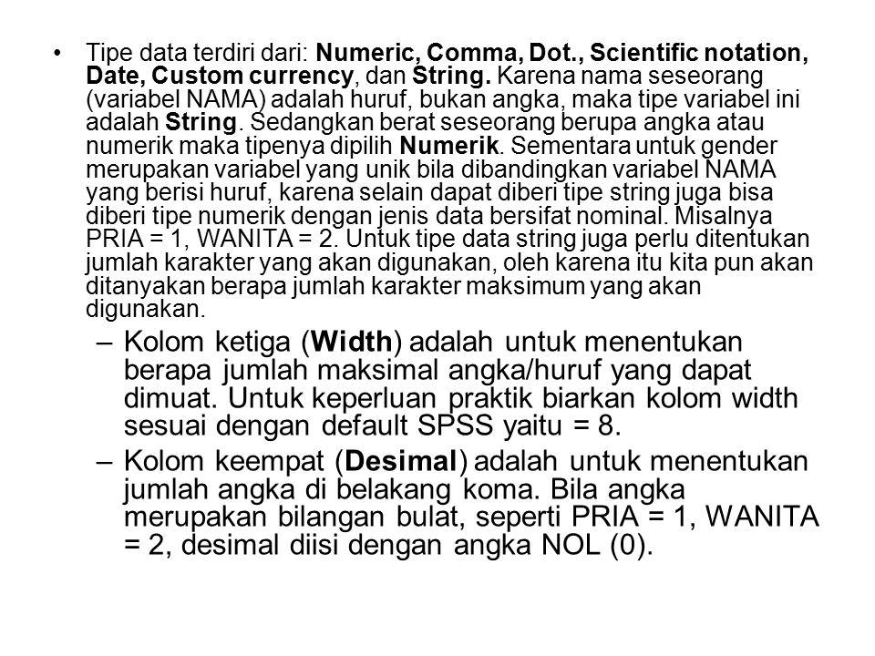 Tipe data terdiri dari: Numeric, Comma, Dot