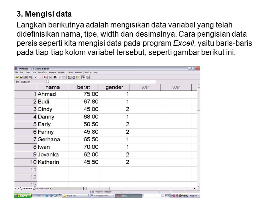 3. Mengisi data