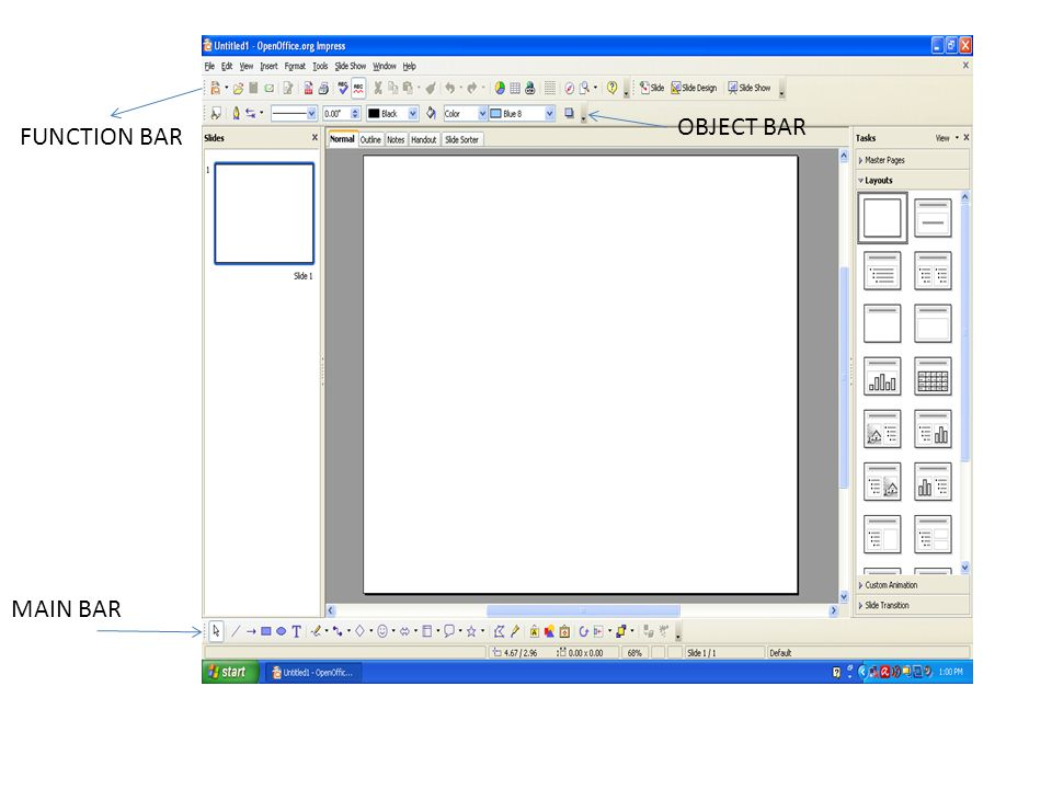 OBJECT BAR FUNCTION BAR MAIN BAR