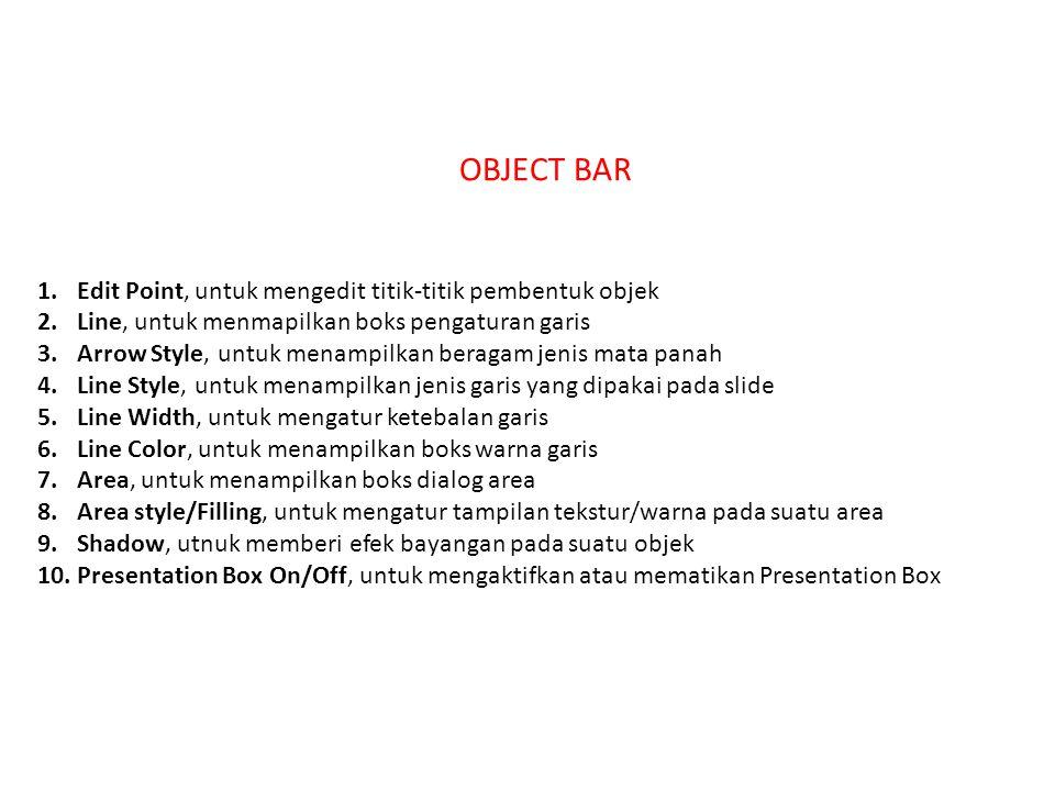 OBJECT BAR Edit Point, untuk mengedit titik-titik pembentuk objek