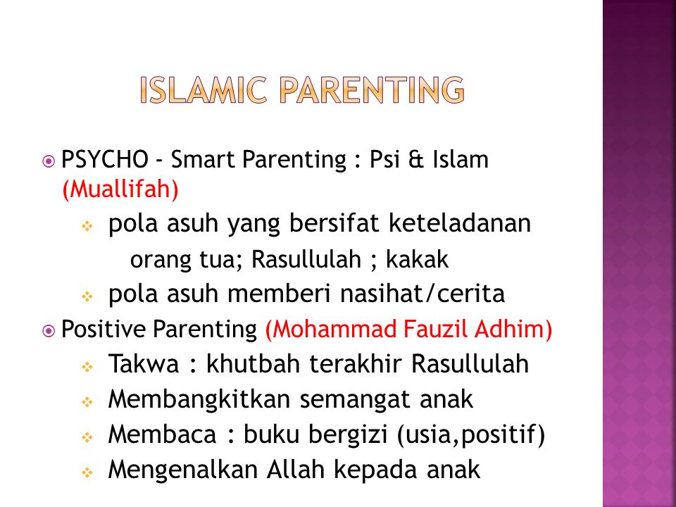 Islamic parenting pola asuh yang bersifat keteladanan