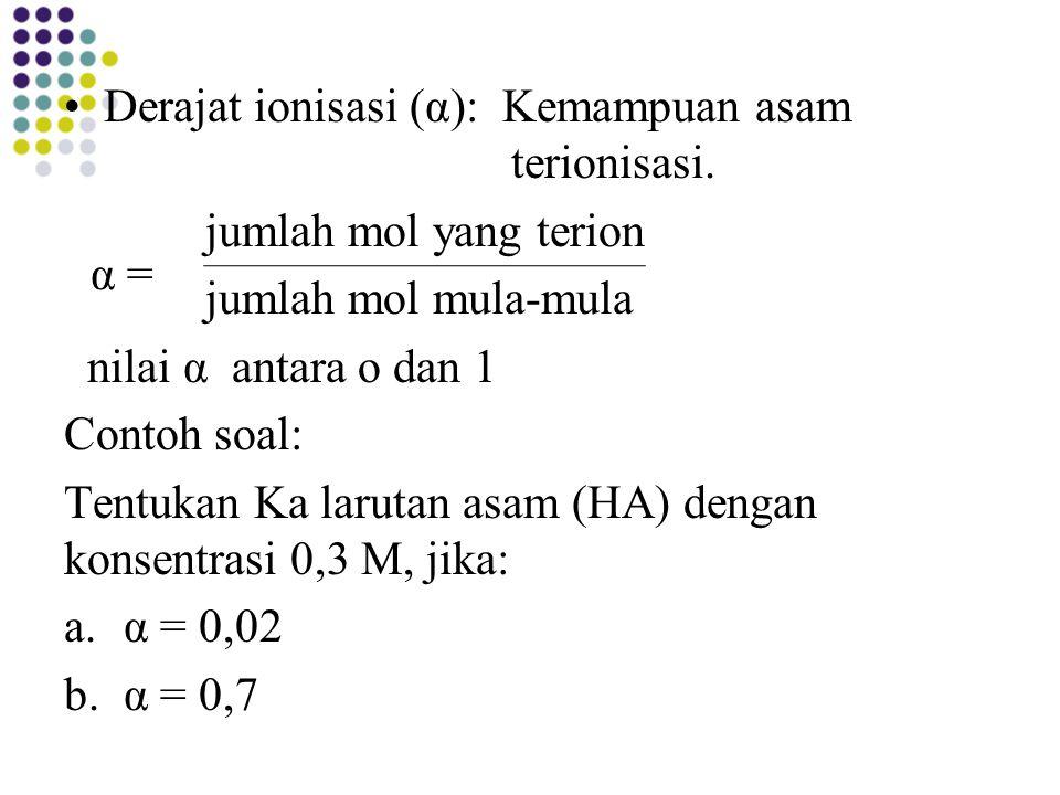 Derajat ionisasi (α): Kemampuan asam terionisasi.