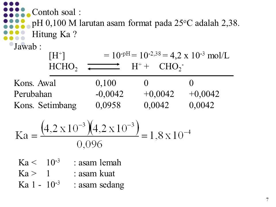 pH 0,100 M larutan asam format pada 25oC adalah 2,38. Hitung Ka