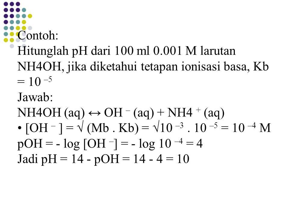 Contoh: Hitunglah pH dari 100 ml 0