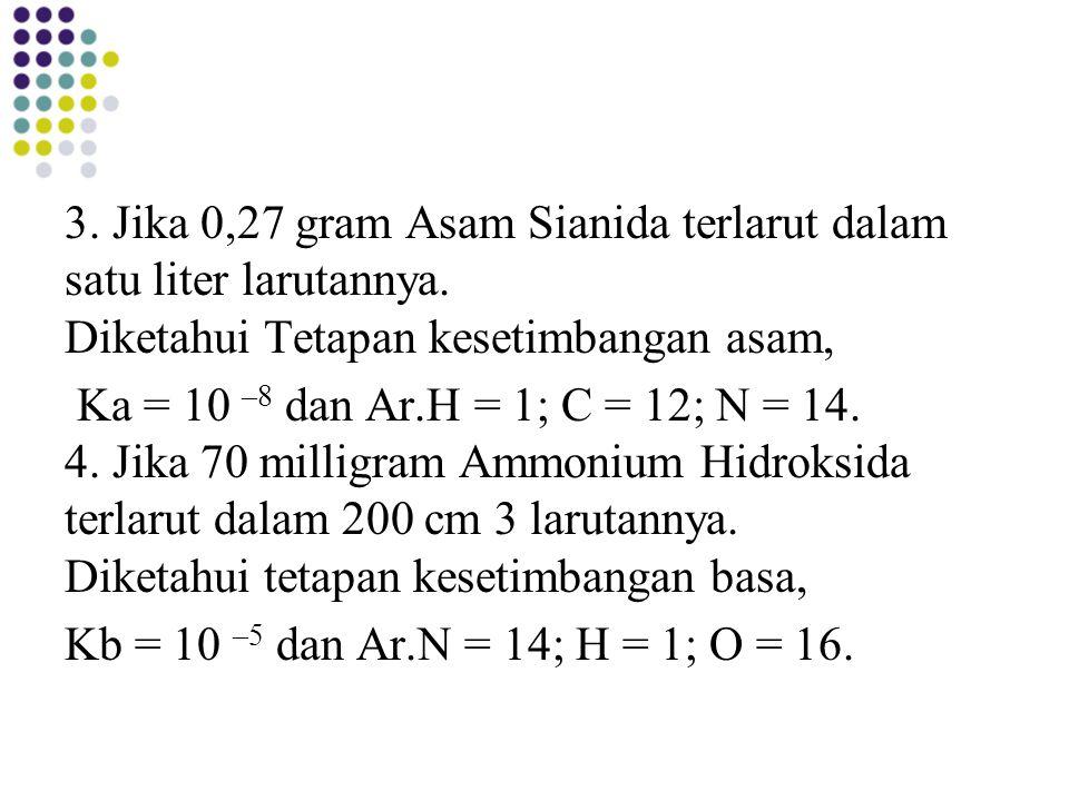 3. Jika 0,27 gram Asam Sianida terlarut dalam satu liter larutannya
