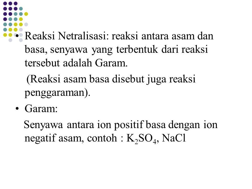 Reaksi Netralisasi: reaksi antara asam dan basa, senyawa yang terbentuk dari reaksi tersebut adalah Garam.