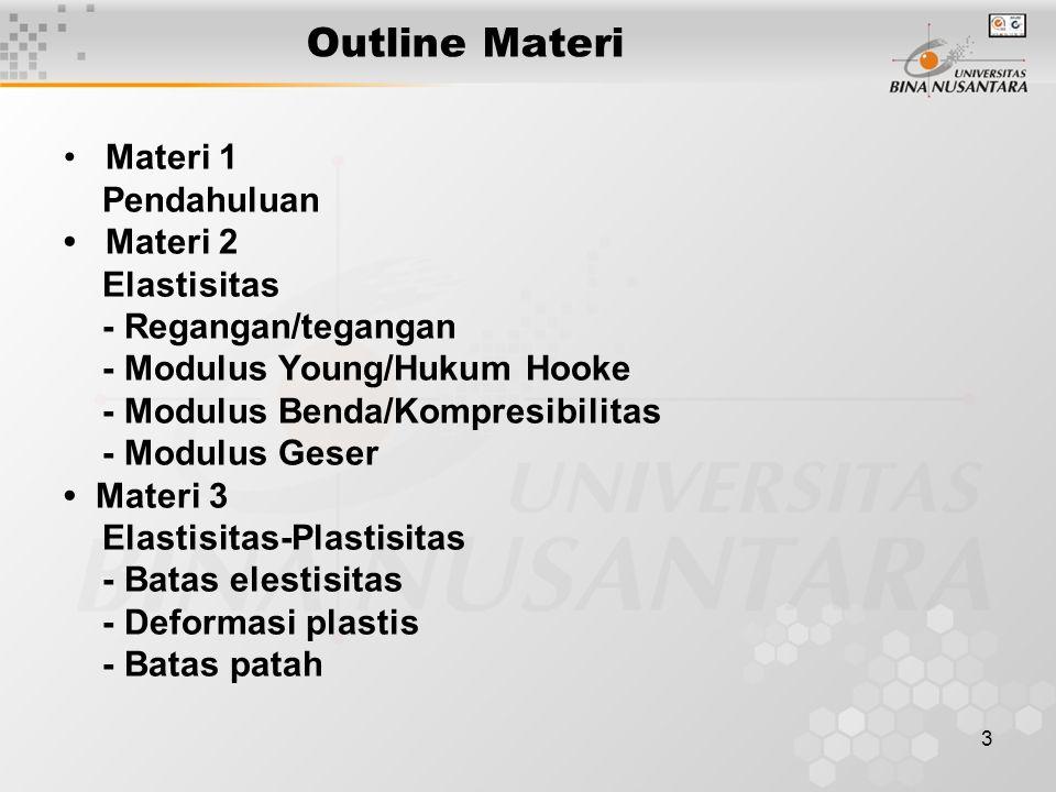 Outline Materi • Materi 1 Pendahuluan • Materi 2 Elastisitas