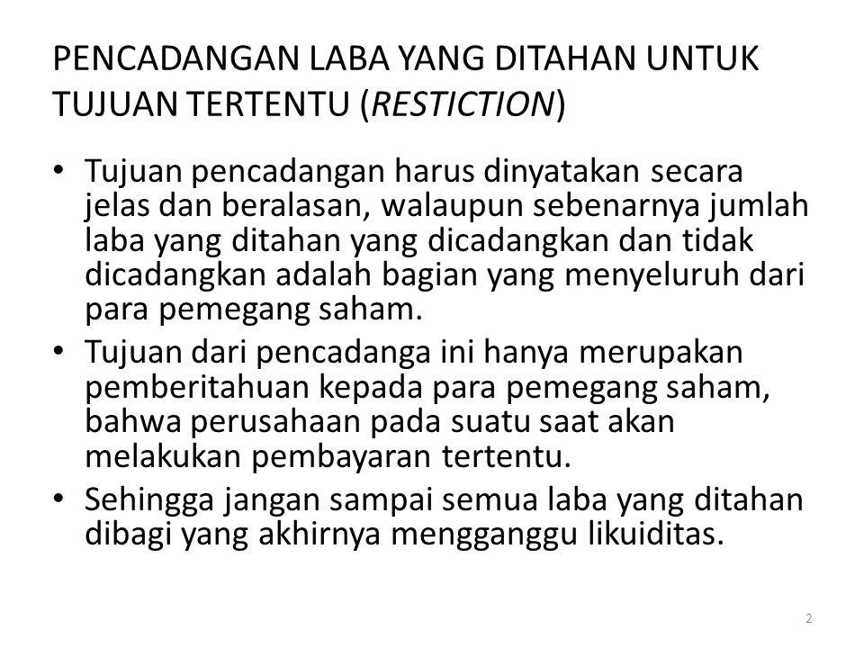 PENCADANGAN LABA YANG DITAHAN UNTUK TUJUAN TERTENTU (RESTICTION)
