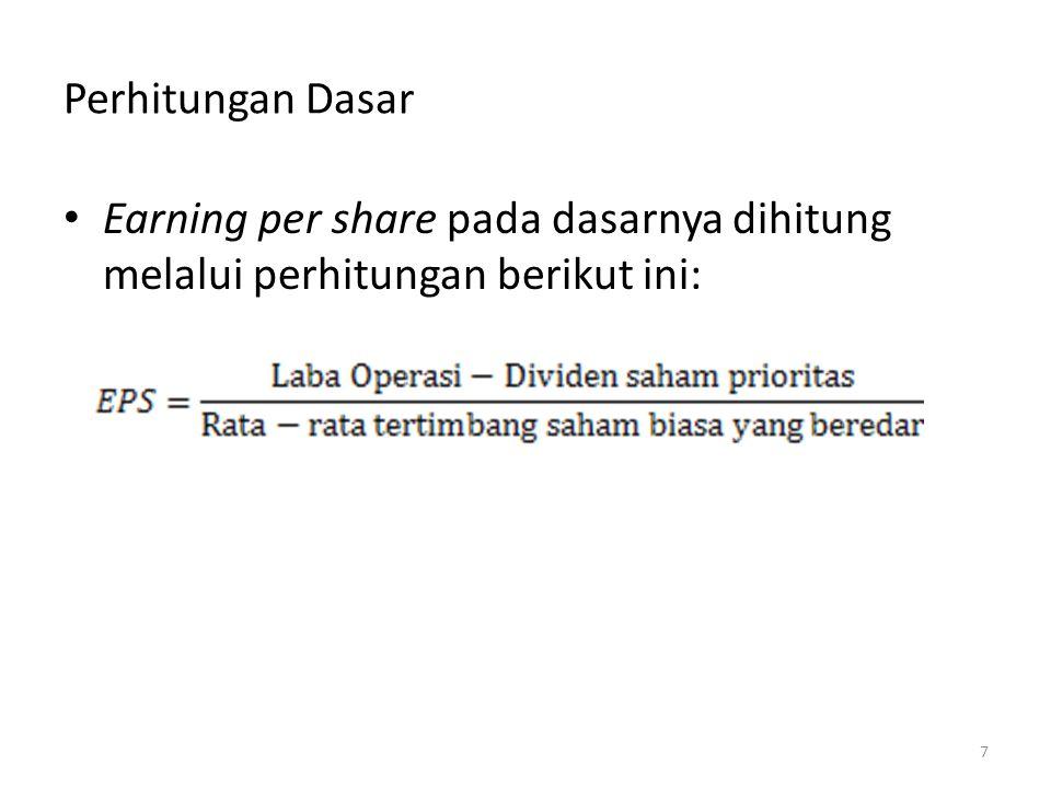 Perhitungan Dasar Earning per share pada dasarnya dihitung melalui perhitungan berikut ini: