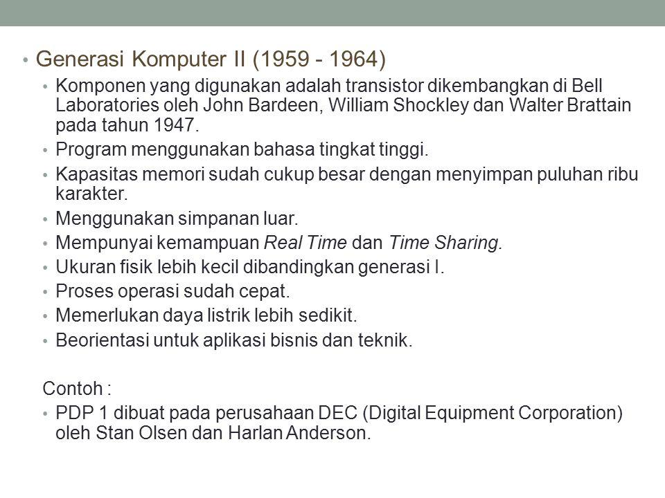 Generasi Komputer II (1959 - 1964)