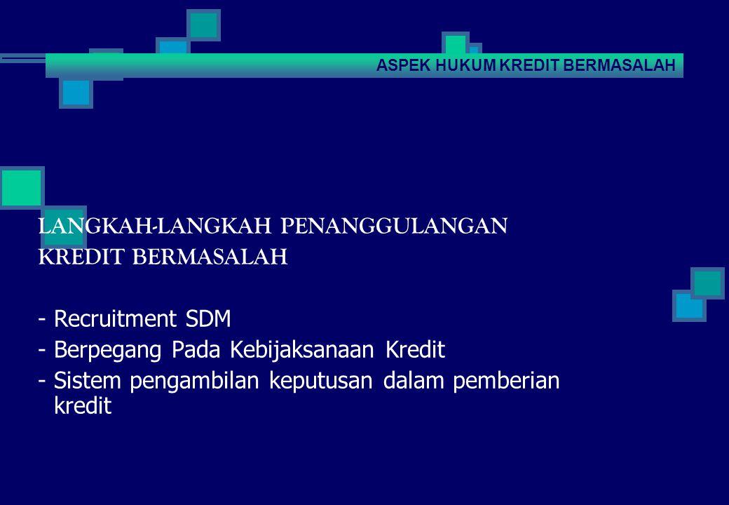 LANGKAH-LANGKAH PENANGGULANGAN KREDIT BERMASALAH - Recruitment SDM