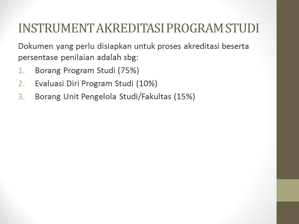 INSTRUMENT AKREDITASI PROGRAM STUDI