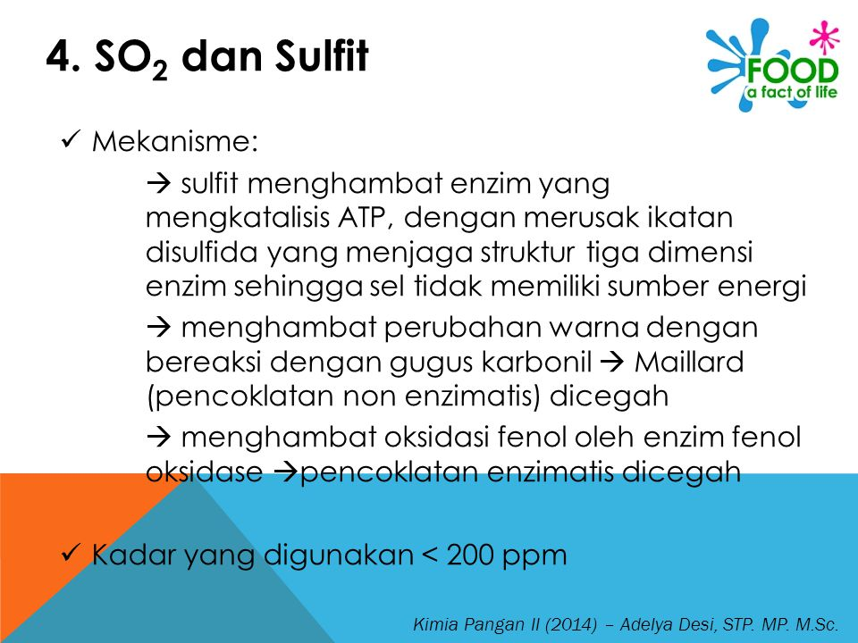 4. SO2 dan Sulfit Mekanisme: