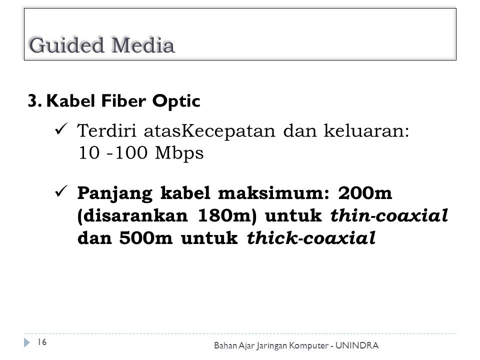 Guided Media 3. Kabel Fiber Optic Terdiri atasKecepatan dan keluaran: