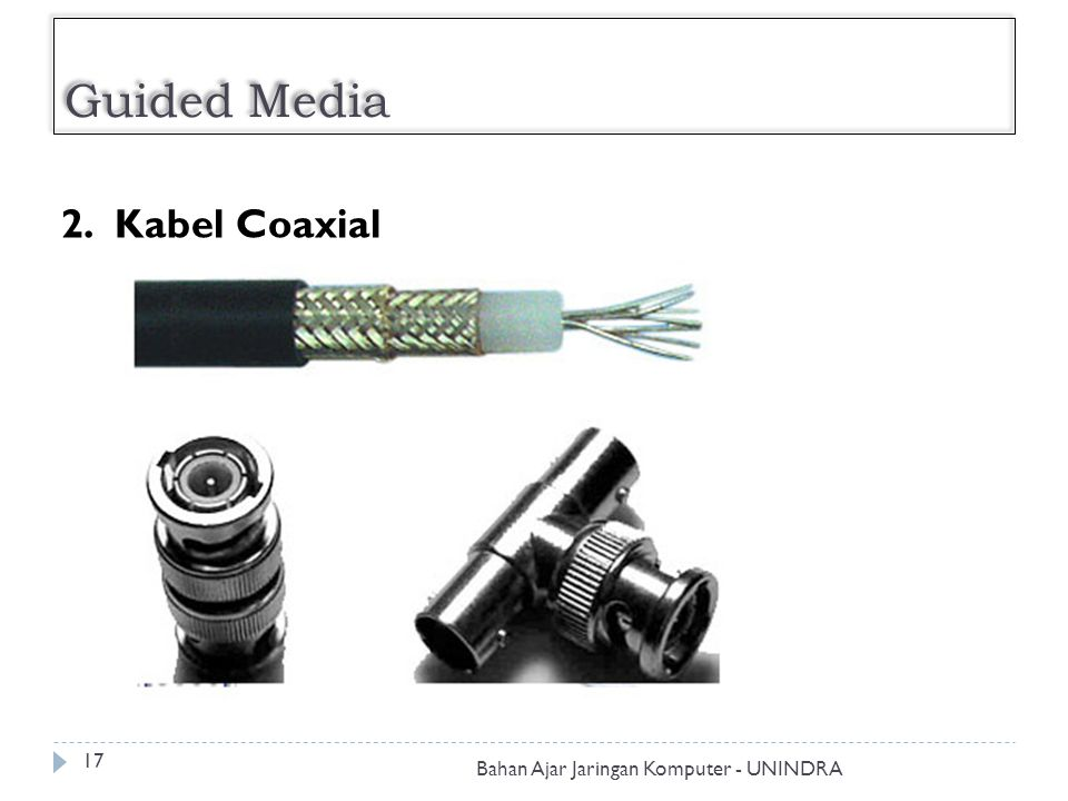Guided Media 2. Kabel Coaxial Bahan Ajar Jaringan Komputer - UNINDRA