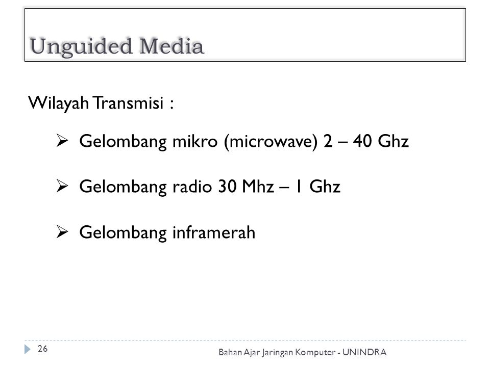 Unguided Media Wilayah Transmisi :