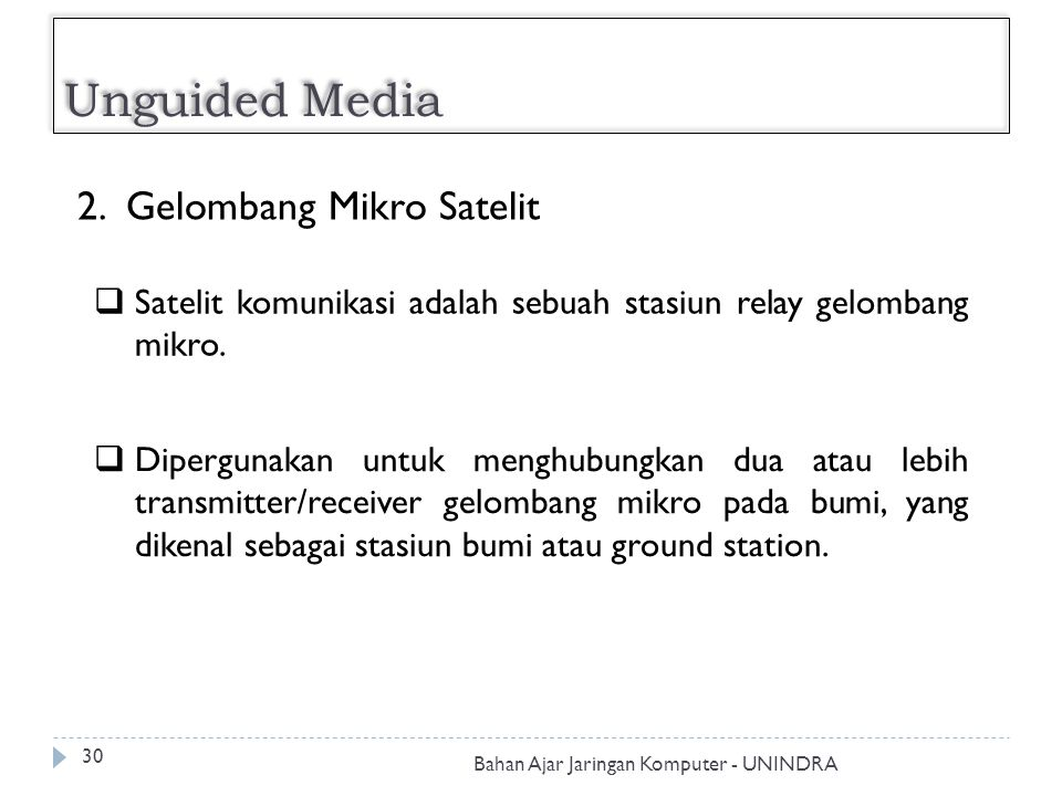 Unguided Media 2. Gelombang Mikro Satelit