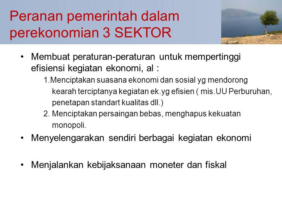Peranan pemerintah dalam perekonomian 3 SEKTOR