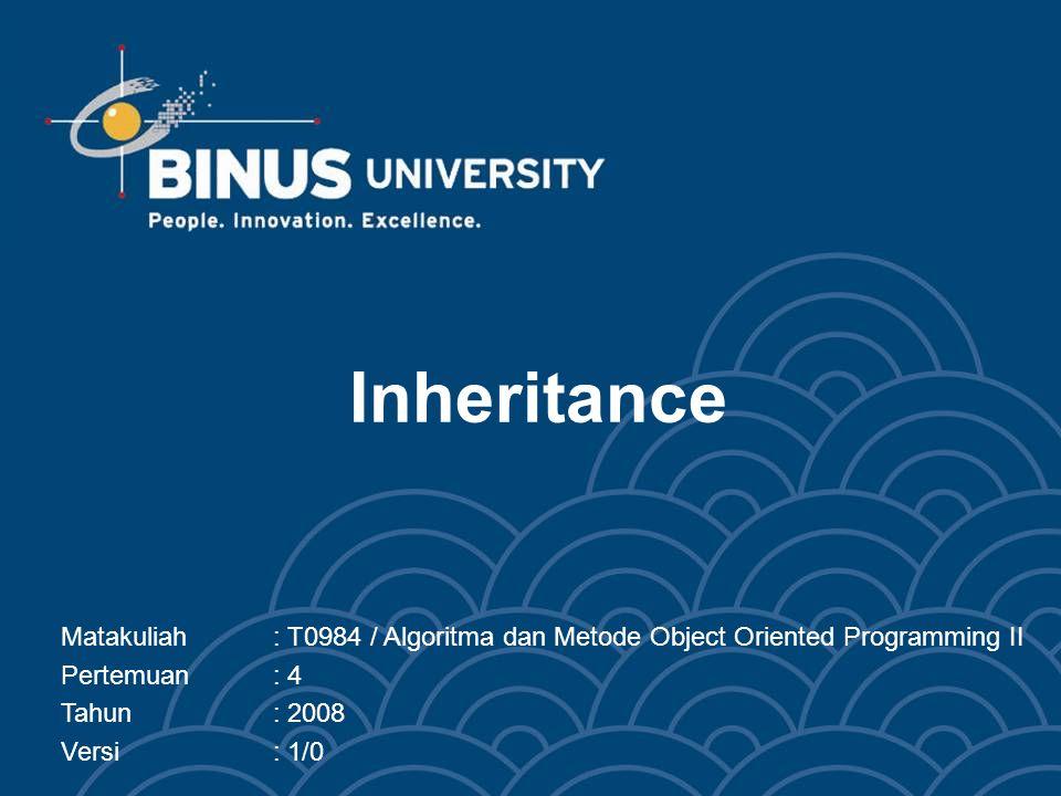 Inheritance Matakuliah : T0984 / Algoritma dan Metode Object Oriented Programming II. Pertemuan : 4.