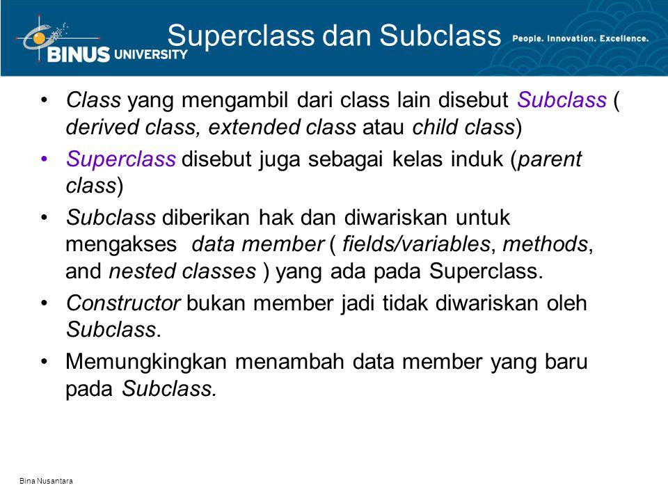Superclass dan Subclass