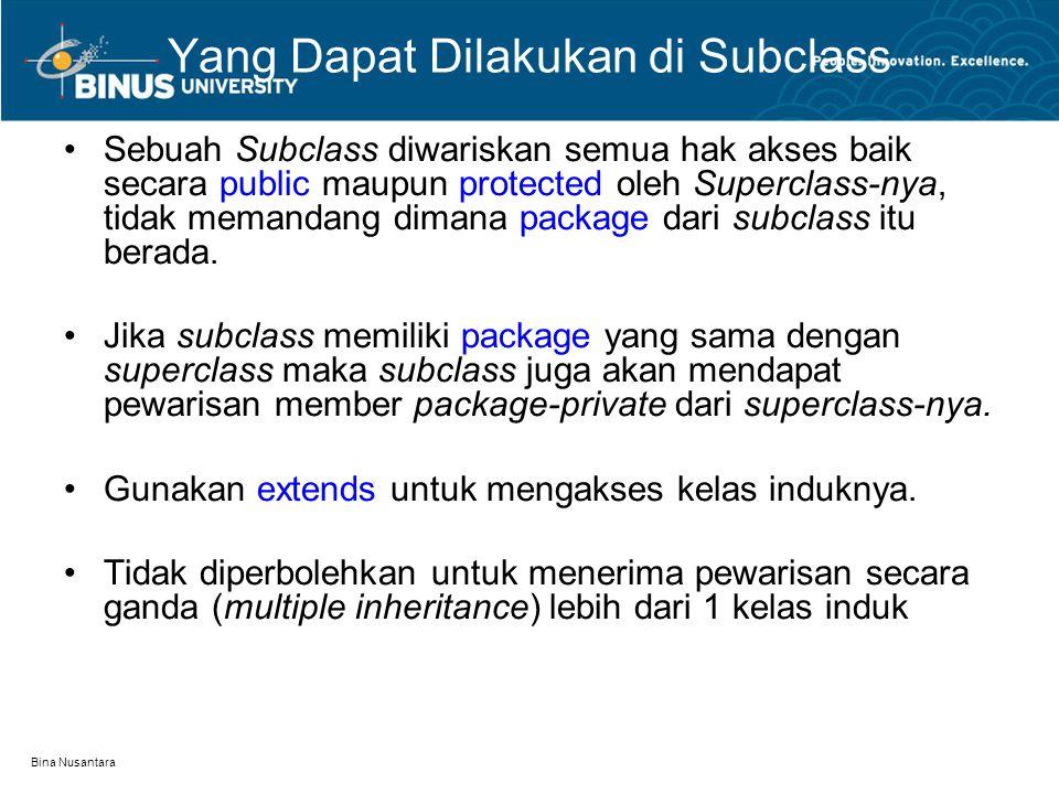 Yang Dapat Dilakukan di Subclass