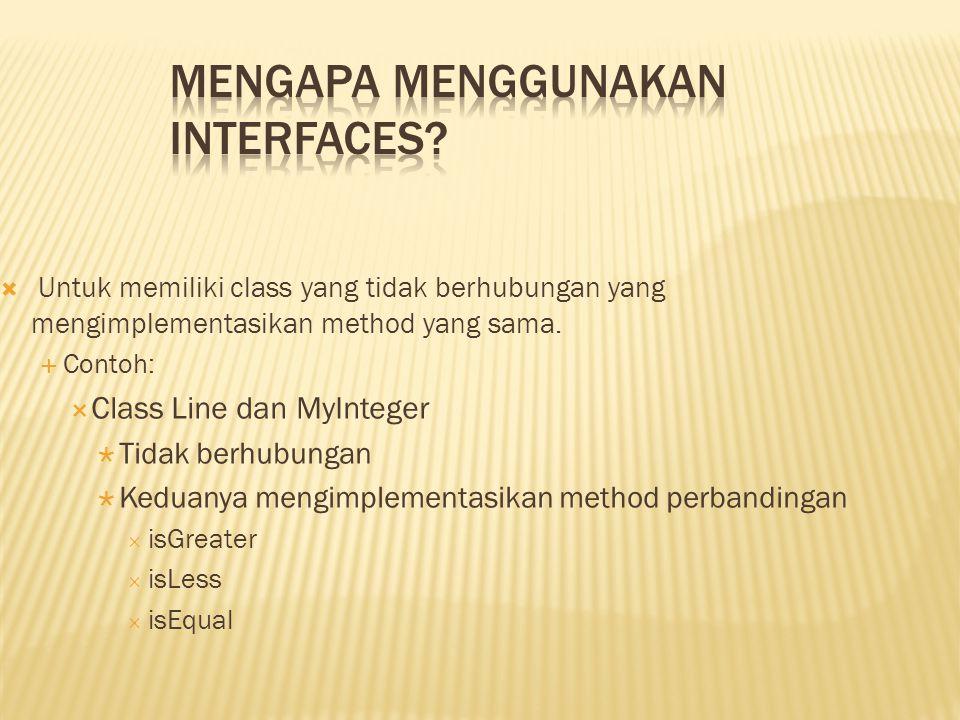Mengapa menggunakan Interfaces
