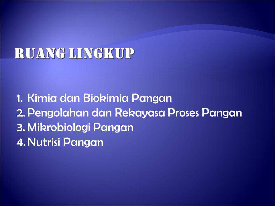 RUANG LINGKUP Kimia dan Biokimia Pangan