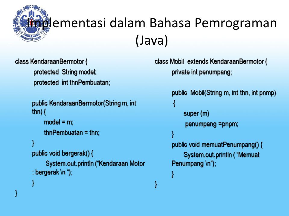 Implementasi dalam Bahasa Pemrograman (Java)