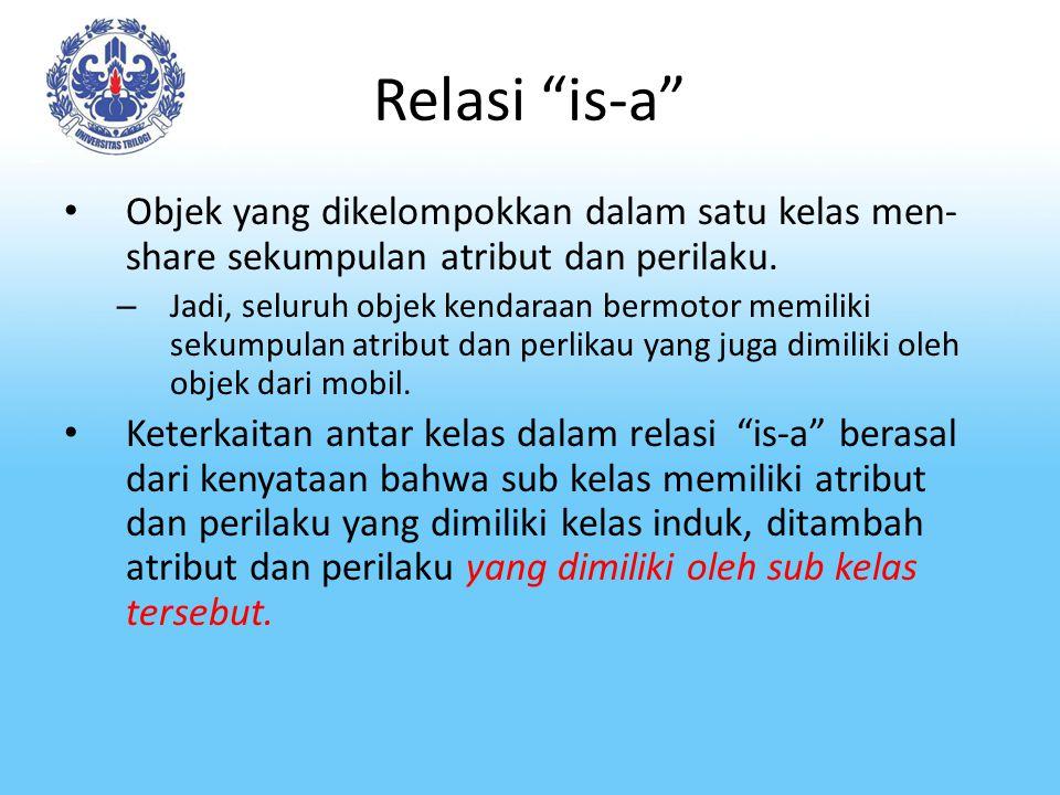 Relasi is-a Objek yang dikelompokkan dalam satu kelas men-share sekumpulan atribut dan perilaku.