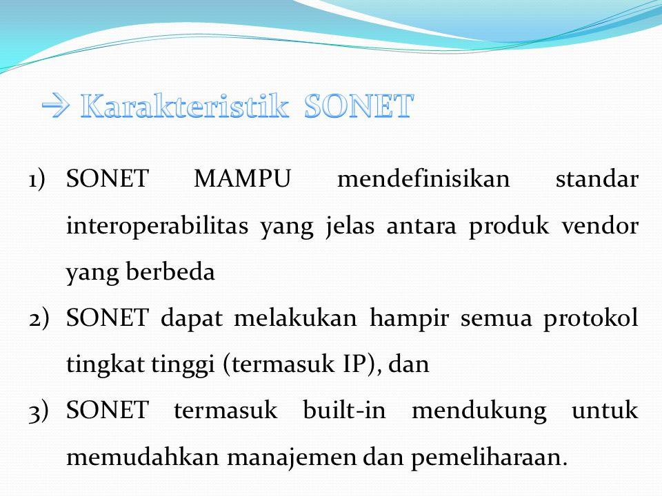  Karakteristik SONET SONET MAMPU mendefinisikan standar interoperabilitas yang jelas antara produk vendor yang berbeda.