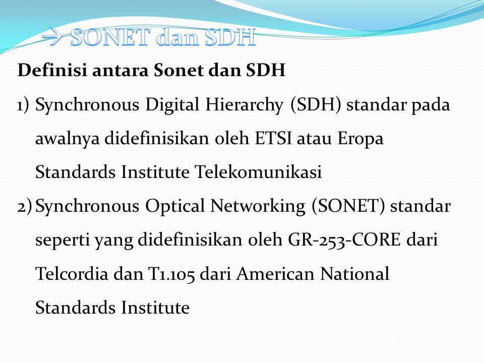  SONET dan SDH Definisi antara Sonet dan SDH