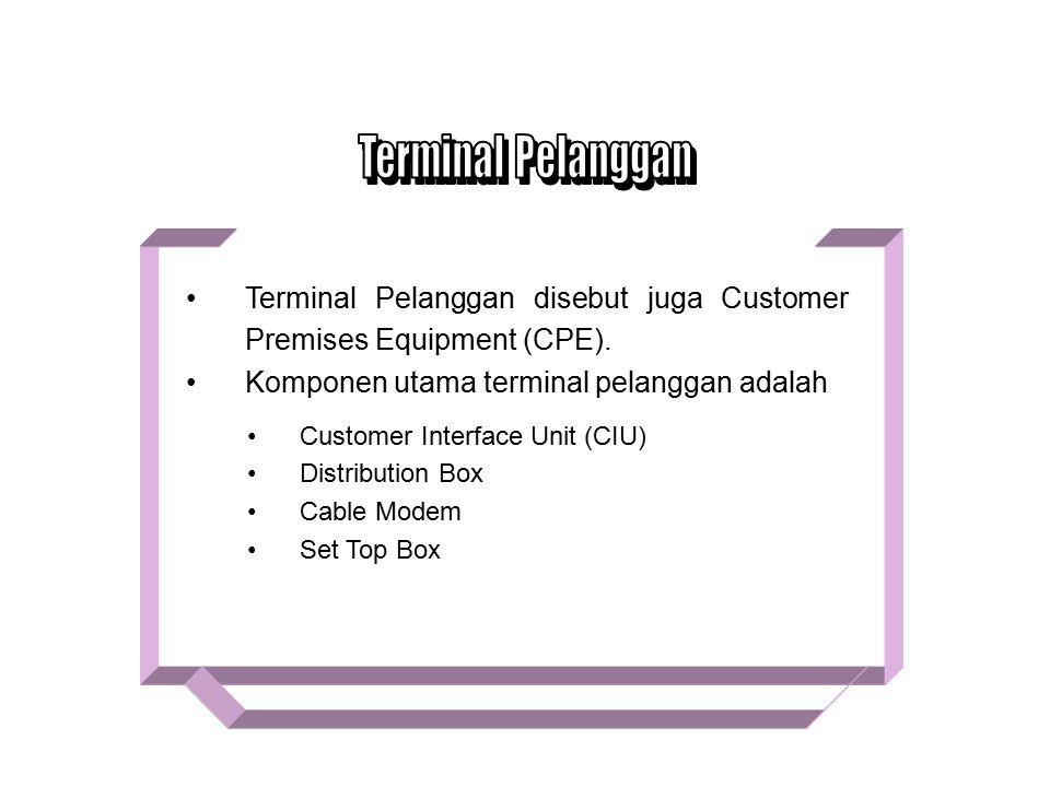 Terminal Pelanggan Terminal Pelanggan disebut juga Customer Premises Equipment (CPE). Komponen utama terminal pelanggan adalah.