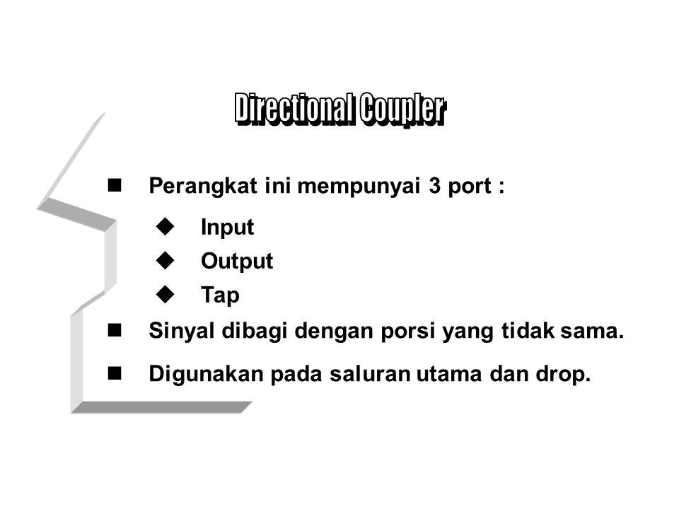 Directional Coupler Perangkat ini mempunyai 3 port : Input Output
