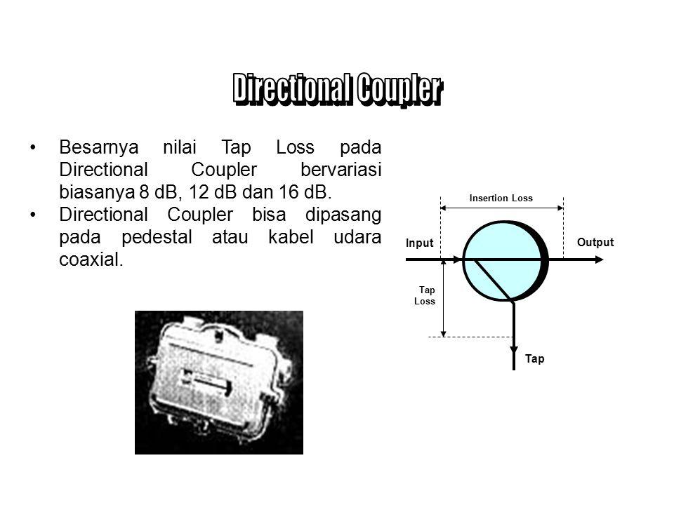 Directional Coupler Besarnya nilai Tap Loss pada Directional Coupler bervariasi biasanya 8 dB, 12 dB dan 16 dB.